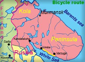 Route biking tour on Kola Peninsula